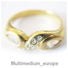 Pierre Lang Ring massiv vergoldet signiert 2 große und 4 kleine Strass Steine