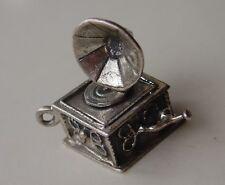 Vtg Sterling Charm Antique Record Player Gramophone Pendant Jewel..