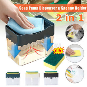 2 in1 Kitchen ABS Soap Pump Dispenser with Sponge Holder Press  Countertop Rack