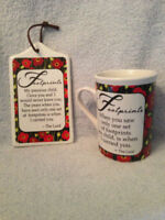 Footprints Daily Blessings Ceramic Mug Wall Plaque Coffee Cup
