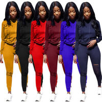 2 Piece Ripped Women Casual Cut Tracksuit Bodycon Jogger Pants Set Hoodie