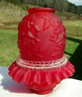 Fenton Ruby Red Satin Embossed Rose 3/pc. Fairy Lamp *Gorgeous**LG Wright