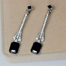 Boucles d`Oreilles Clous Argenté Long Art Deco Fin Carré Noir Mariage XX 11