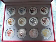 2012 Australian Silver Dragon Lunar Series II BU 1 OZ (Set of 12 Coins)