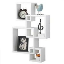 White Intersecting 4 Square Floating Shelf Wall Mounted Home Furniture Decor New