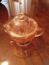 Vintage Pink Depression Glass Footed Sugar Dish with Lid Cabbage Rose Design
