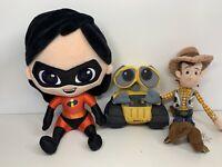 Disney Pixar Soft Plush Toy Bundle Wall-E Toy Story Woody & Incredibles Violet