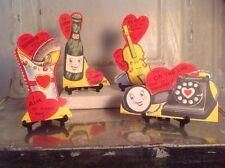 Vintage Valentines Day Litho Card Anthropomorphic Telephone Soda Holster Cello