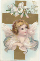 Pretty Angel with Cross & Lily Flowers ~Antique Easter Postcard-p555