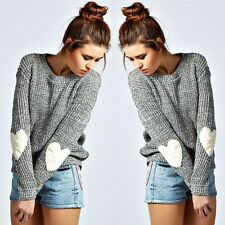 UK New Womens Winter Knitted Long Sleeve Jumper Sweater Ladies Casual Loose Tops