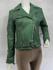 Ladies Green Napa Leather Slim Tight Fitted Short Biker Jacket Bike