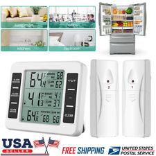2 Sensors Digital Wireless Freezer Alarm Thermometer Fridge Indoor /Outdoor Us