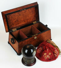 More details for antique fortune telling set- crystal ball bronze stand burr yew tea caddy occult