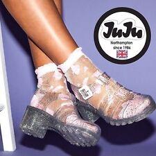 BNWT JuJu Ju Ju Topshop Jelly Glitter Clear Healed Sandals Comfortable 7 9.5 £30