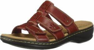 Clarks Women's Leisa Spring Slide Sandal  7 Narrow, Red Leather