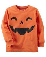 New Carter's Orange Pumpkin Jack O Lant Halloween Top NWT 2T 3T 4T 5T 6 7 8 Kid