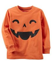 New Carter's Orange Pumpkin Jack O Lant Halloween Top NWT 2T 3T 4T 5T 6 7 8 Kid
