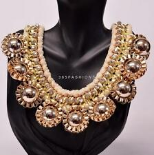 STATEMENT FUNKY BOHO WOVEN BRAIDED VELVET BALL CHUNKY CHAIN NECKLACE CREAM