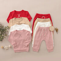 Toddler Baby Boys Girls Long Sleeve Solid T-Shirt Tops+Pants Casual Outfits Sets