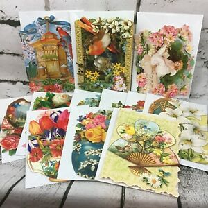 Punch Studio Diecut Notecards Lot Of 12 With Envelopes Floral Ephemera Images