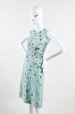 Bottega Veneta NWT $2950 Light Green White Silk Pattern SL Sheath Dress SZ 42