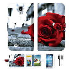 Blooming Rose Wallet TPU Case Cover For Samsung Galaxy S4 -- A011