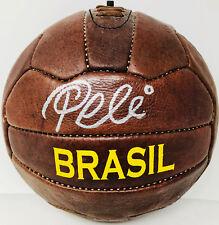 Pele Signed Leather Vintage Brasil Soccer Ball Auto Brazil - PSA DNA ITP
