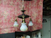 Art Deco Antique Hanging Lighting Fixture w/ 3 Shades