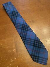 "Vtg 1960s 60s Morgan 100% Wool Blue Argyle Tie Scotland Semi Skinny 56"" 3"""