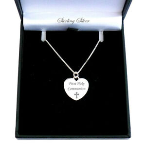 Engraved Silver Necklace, Heart, Cross, Girls Christening, First Holy Communion