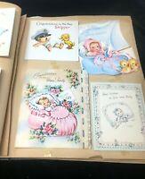 Large Vintage Baby Cards Scrapbook Birth Announcements Birthday Ephemera