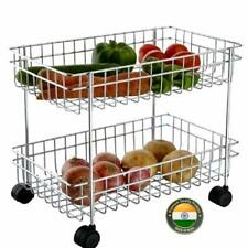 2 Tier Vegetable & Fruits Trolley Basket Organizer Storage Shelf Shelves Rack