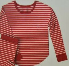 Womens Gillian & Omalley Thermal Pajama Top M Red White Stripe Longsleeve