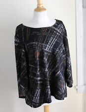 NWT Laura Ashley Sz 1X Art-Wear Slinky Black Abstract Print 3/4 Sleeve Shirt Top