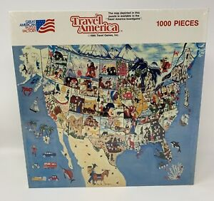 """NEW 1987 Great American Puzzle Factory """"Travel America"""" 1000 Piece Jigsaw Puzzle"""