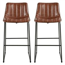 Set of 2 Bar Stool Fashion PU Leather High Dining Chairs with Backrest Brown