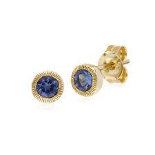 Gemondo 9ct Yellow Gold Tanzanite Single Stone Round Milgrain Stud Earrings