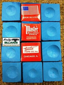 Pool Cue ~Tip Chalk ~ MASTER ~ NEW COLOR ~ SKY  BLUE ~ 12 pieces ~ Bagged