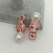 Leopard head Stud Earrings White keshi Pearl CZ Pave Rose Gold Plated