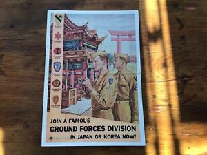 Original vintage RARE US ARMY RECRUITING Poster w 2 Soldiers In Korea or Japan