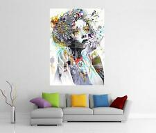 ABSTRACT GIRL FLOWERS COLOURFUL TATTOOS GIANT WALL ART PRINT PIC PHOTO POSTER