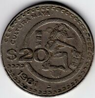 1981 MEXICO 20 PESOS MAYAN CULTURE  NICE WORLD COIN