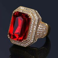 Princess Lab Ruby Red Sapphire Gold Filled Men Stainless Steel Rings Wedding