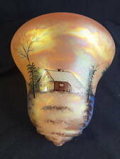 1900-1920's Large Carnival Iridescent Scenic Cabin Decorated Early Elec Shade