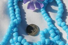 9mm Crow Roller Glass Beads Opaque Turquoise Blue on an avg. 100pcs