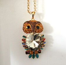 Butler and Wilson Multi Crystal Owl With Big Belly Stone Pendant Necklace NEW