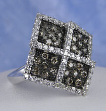 1.00 CARAT GENUINE NATURAL BROWN AND WHITE DIAMOND RING 14KT