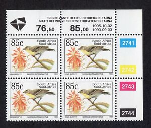 South Africa endangered fauna lemon-breasted seedeater unmounted mint block of 4