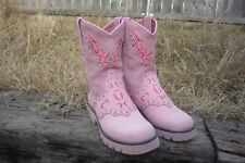 Womens 5 B M Justin Caliente Collection Pink Bling Square Toe Cowboy Boots L8031