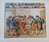 Cromo Incisione Roma: Costumi popolari del Pinelli con testo Secondo '800 (P200)